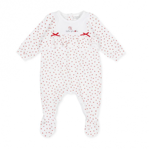 Tutto Piccolo Red and Optical White Babygrow